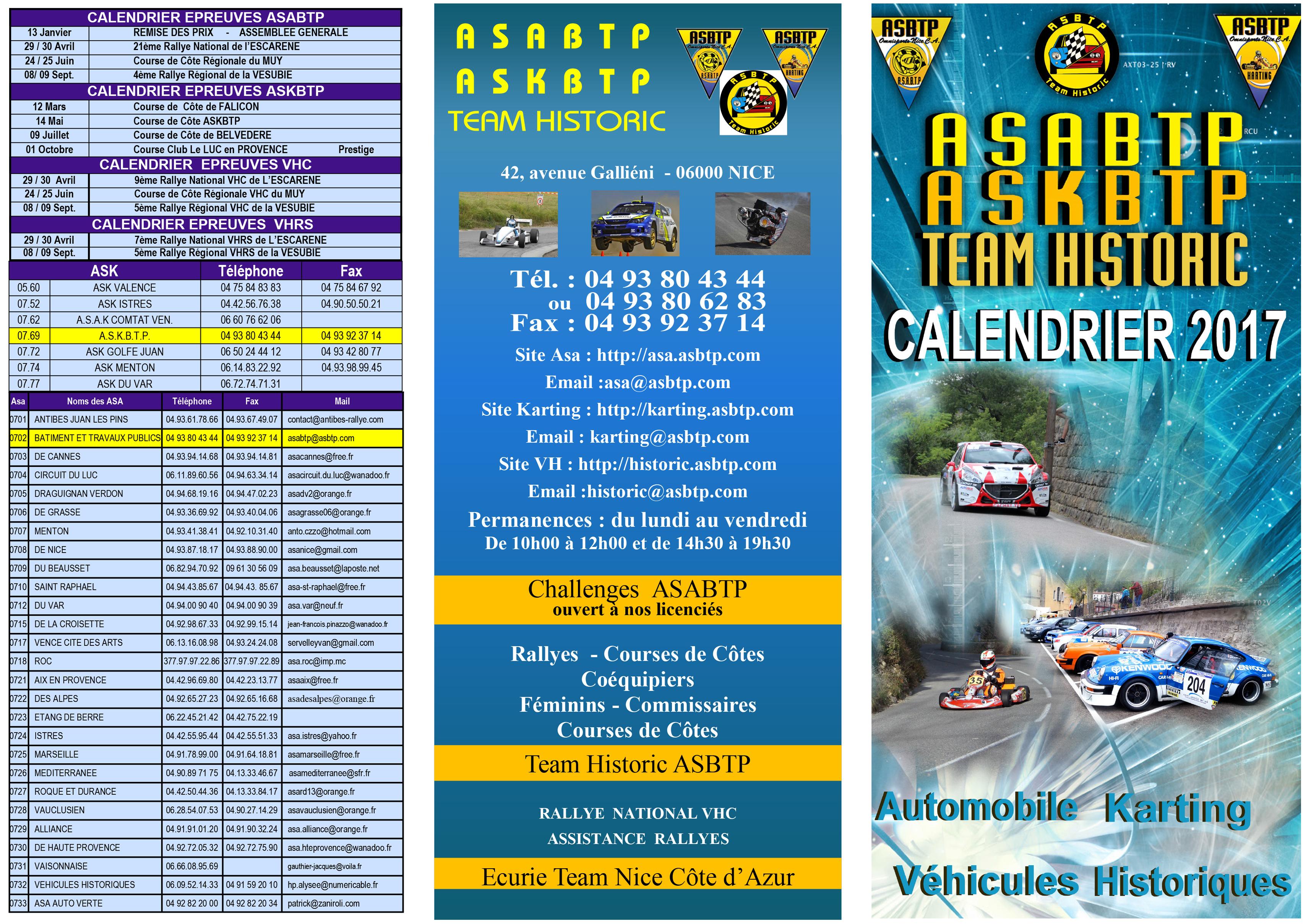 Brochure asa Calendrier 2017-2