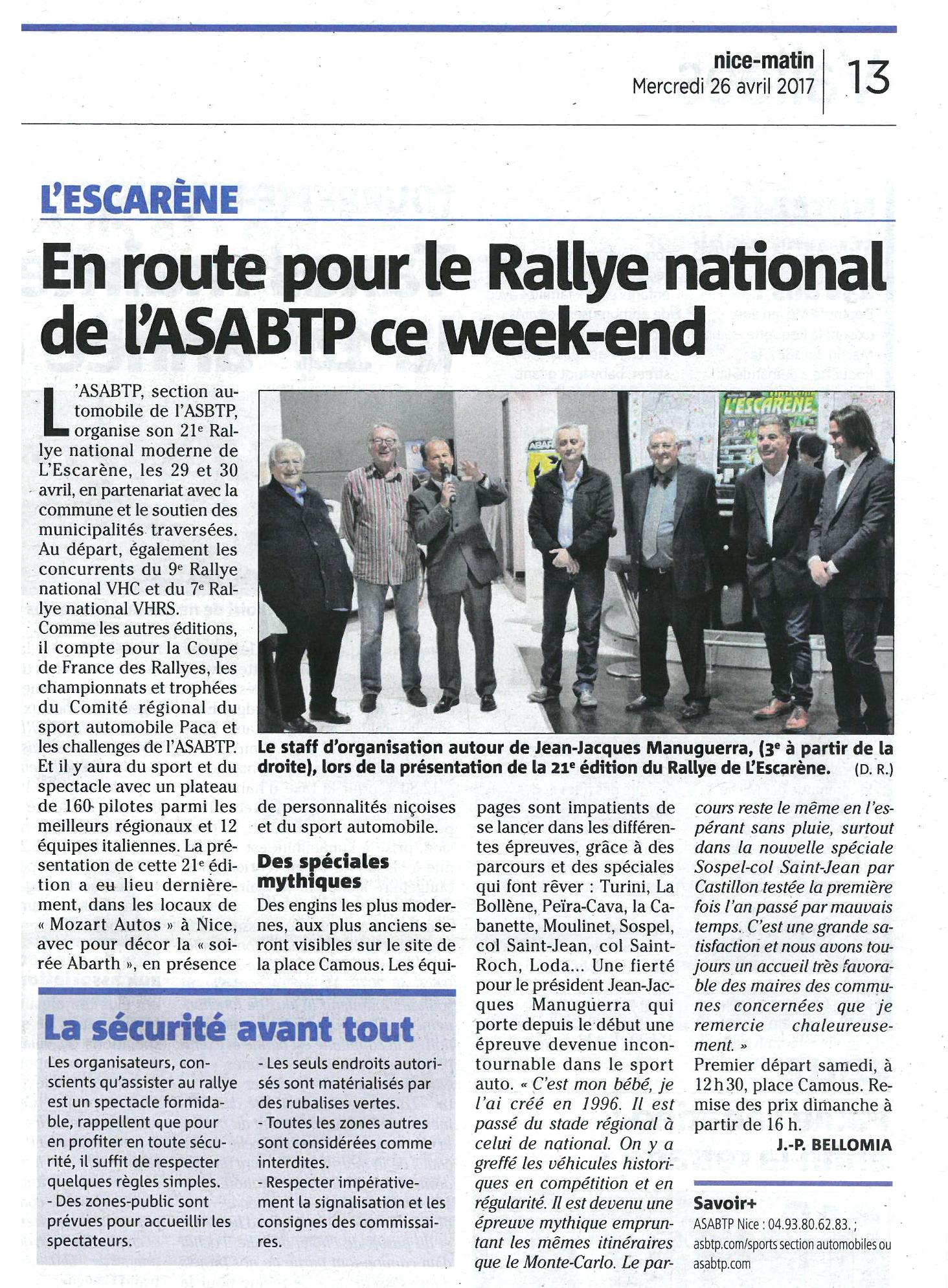 Article Nice-Matin 26-04-2017