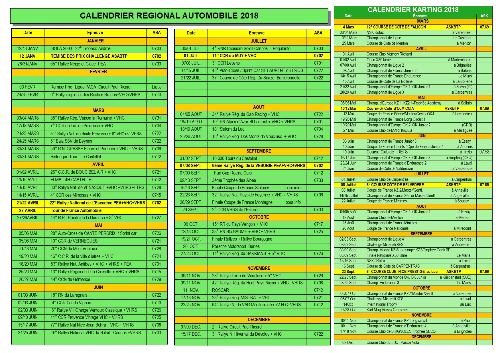 Brochure asa Calendrier 2018